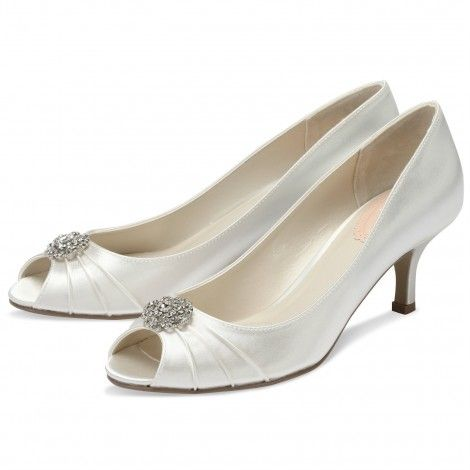 Zest by Pink for Paradox London Ivory or White Dyeable Low Heel Vintage Wedding or Occasion Shoes