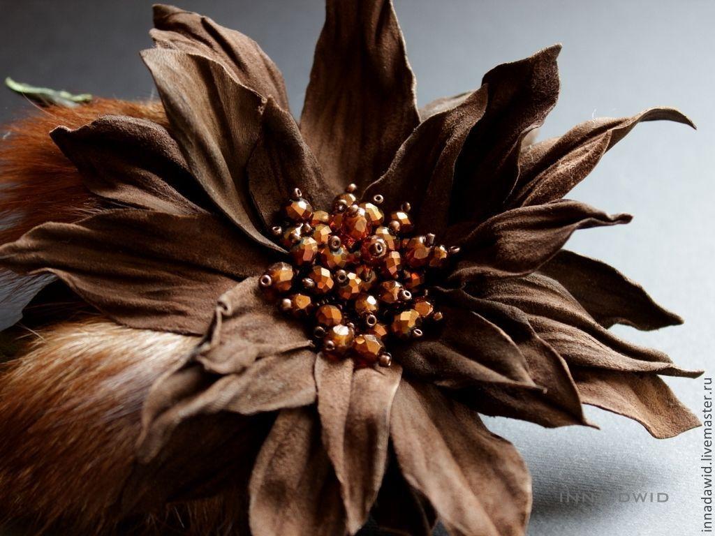 """Купить Цветок из кожи """"Luisa"""" - коричневый, мех, мех ..."""