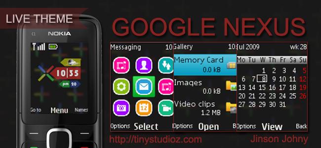 Google Nexus theme for Nokia C1-01,Nokia C1-02,Nokia C2-00,Nokia