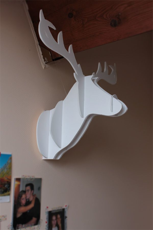 Diy 1 la t te de cerf en carton origami craft and xmas for Decoration murale tete de cerf