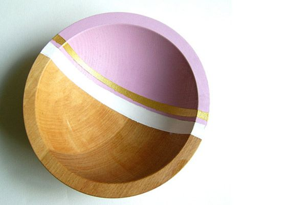 """Nicole Porter Design Graphic Modern Hardwood 7"""" Bowl in Lilac Purple, $35, available at Etsy."""