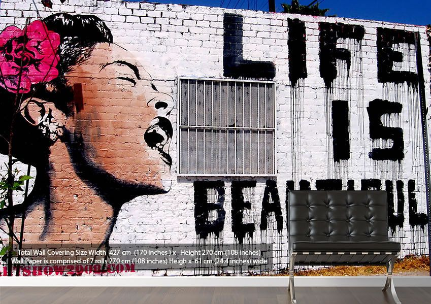 Life Is Beautiful Black and White Banksy Wallpaper Murals Various Sizes, Prices From 129.99 http://www.wallart-direct.co.uk