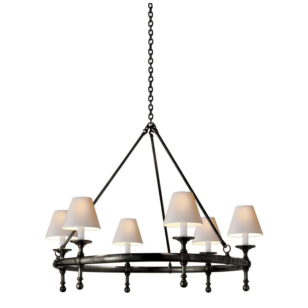 Studio Classic Ring Chandelier in Bronze with Natural Paper Shades by Visual Comfort SL5812BZ-NP
