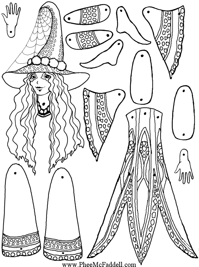Druella the Witch Puppet to Color, Cut Out, & Assemble