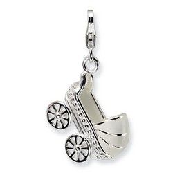 Large Baby Carriage 3-D Charm By Amore La Vita