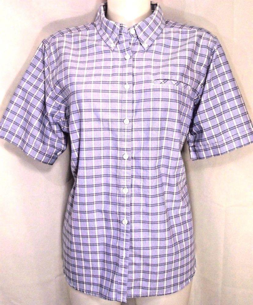 Plus 16W~Cabin Creek~Blue Plaid Print Button Up Shirt~Blouse~Retro