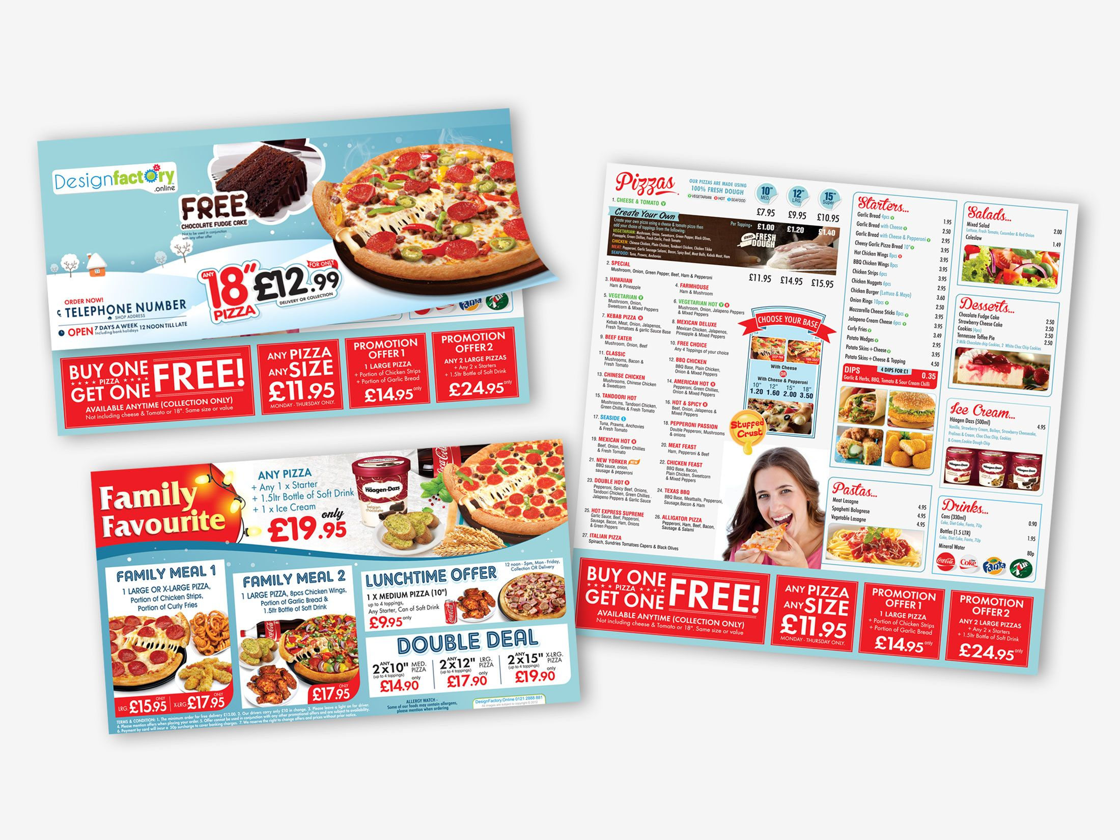 Farm House Pizza Godalming Leaflet Pizza Menu Leaflets