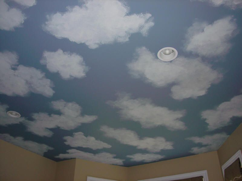 Painted cloud ceiling kid 39 s reading room pinterest for Cloud mural ceiling