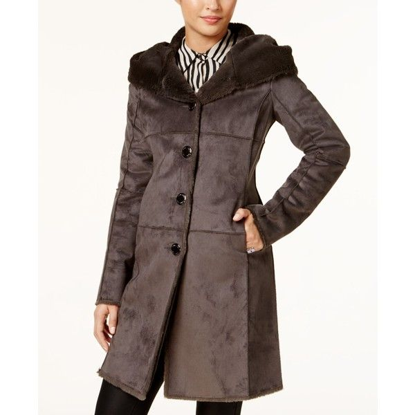 82a778501cf3 Calvin Klein Hooded Faux-Shearling Walker Coat ($160) ❤ liked on Polyvore  featuring outerwear, coats, grey, calvin klein, sherpa coat, faux-shearling  coats ...