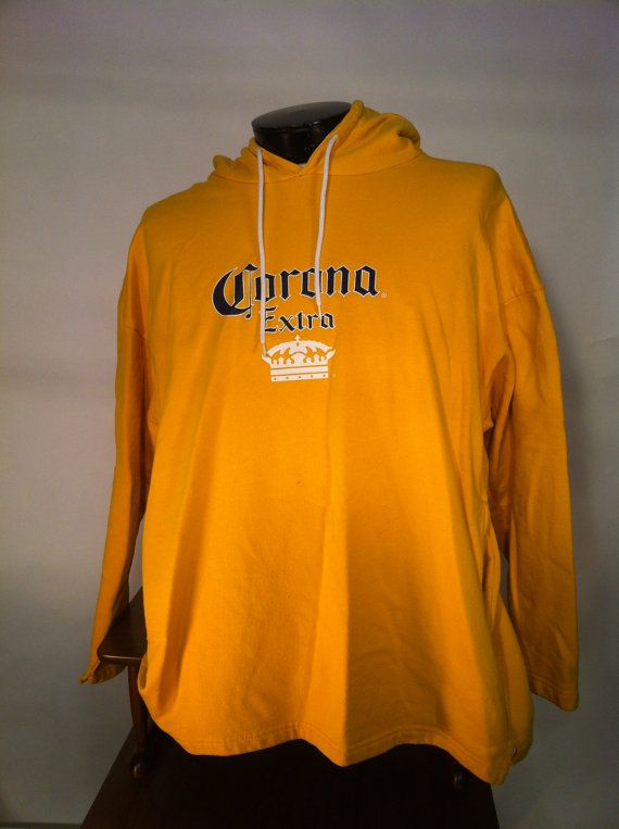 Corona Hooded Sweatshirt With Built In Pockets And By Rumpledsuit 17 00 Vintage Clothing Men Hooded Sweatshirts Sweatshirts