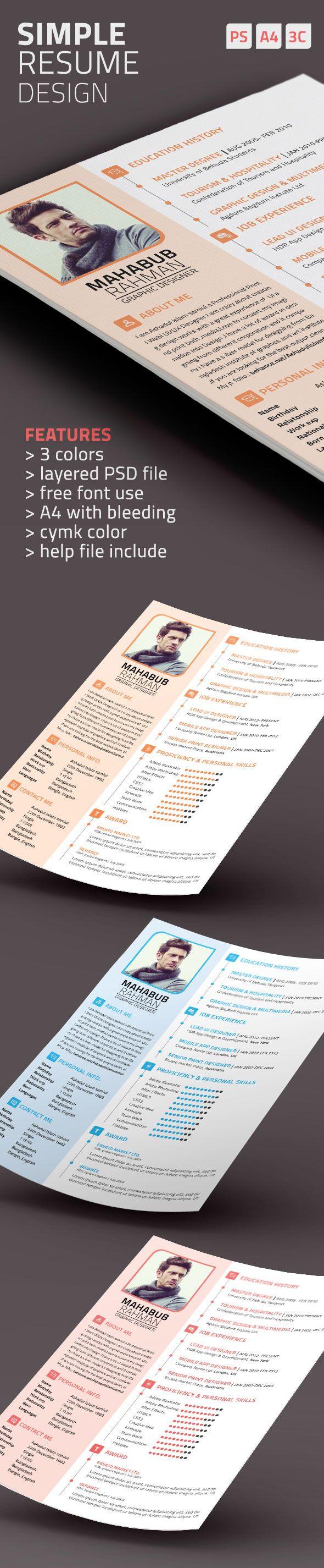 Simple Resume Templatemy Cms Web Design Pinterest Simple