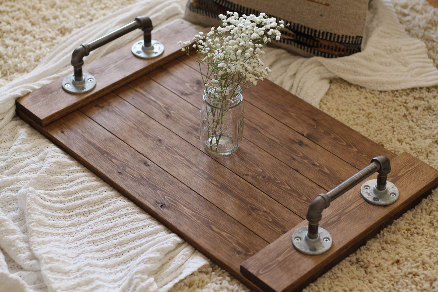Rustic Industrial Tray Wooden Tray Ottoman Tray Coffee Table Tray