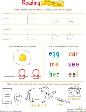 Get Ready for Reading: All About the Letter E | Pinterest | Zeichen ...