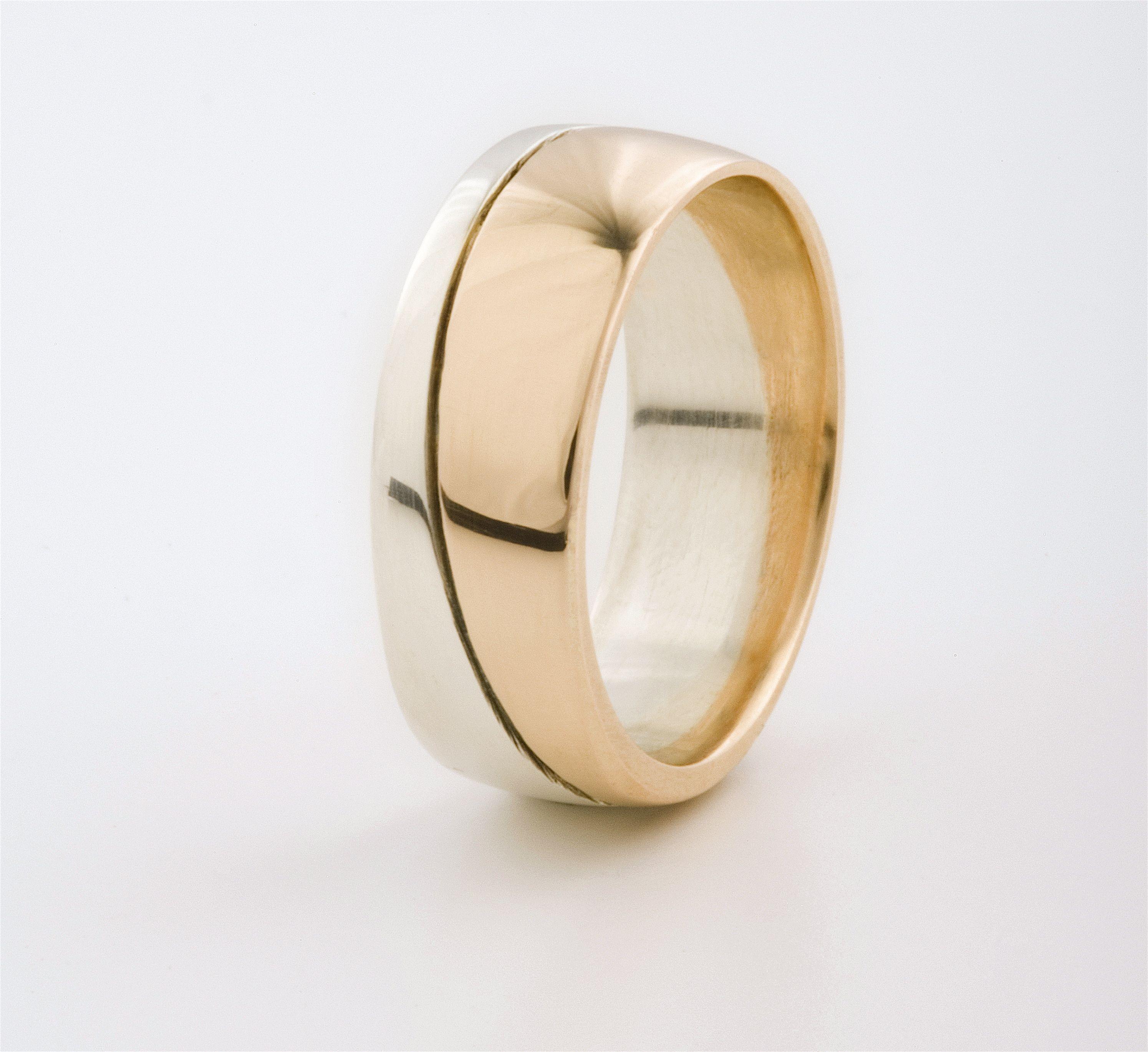 mens fused white gold rose gold ring