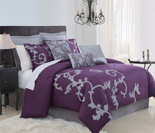 """9 Piece King Duchess Plum and Gray Comforter Set by KingLinen. $129.99. Gray large scale scroll applique on plum ground, intricate embroidered decorative pillows and shams, this beautiful comforter set will transfer your bedroom into a dreamy retreat.. 3 decorative pillows and bonus euro shams included. FeaturesColor: Gray/PlumSize: King50% Cotton/50% Polyester Machine washableThis set includes:1 Comforter (104""""x90"""")2 Shams (20""""x36""""+3"""")1 Bedskirt (78""""X80""""+14"""")2..."""