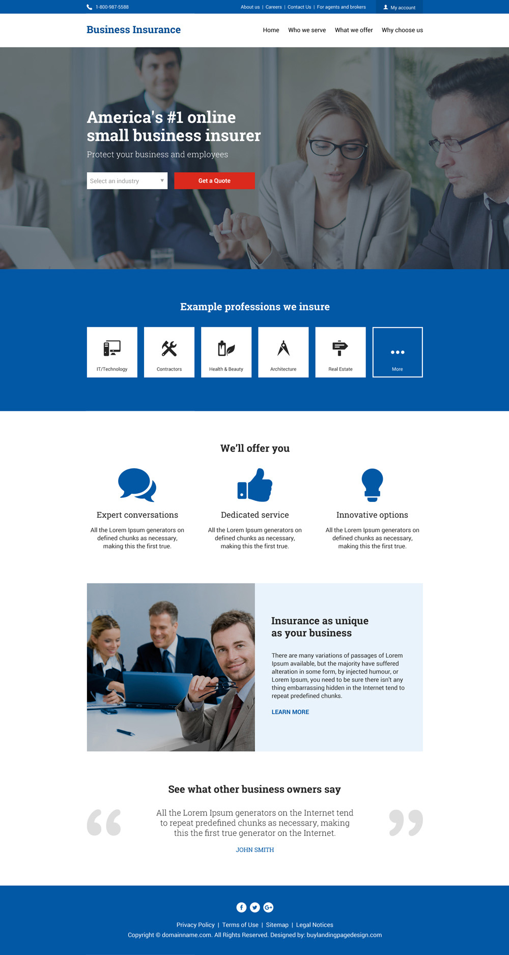 Business insurance responsive website design Be an