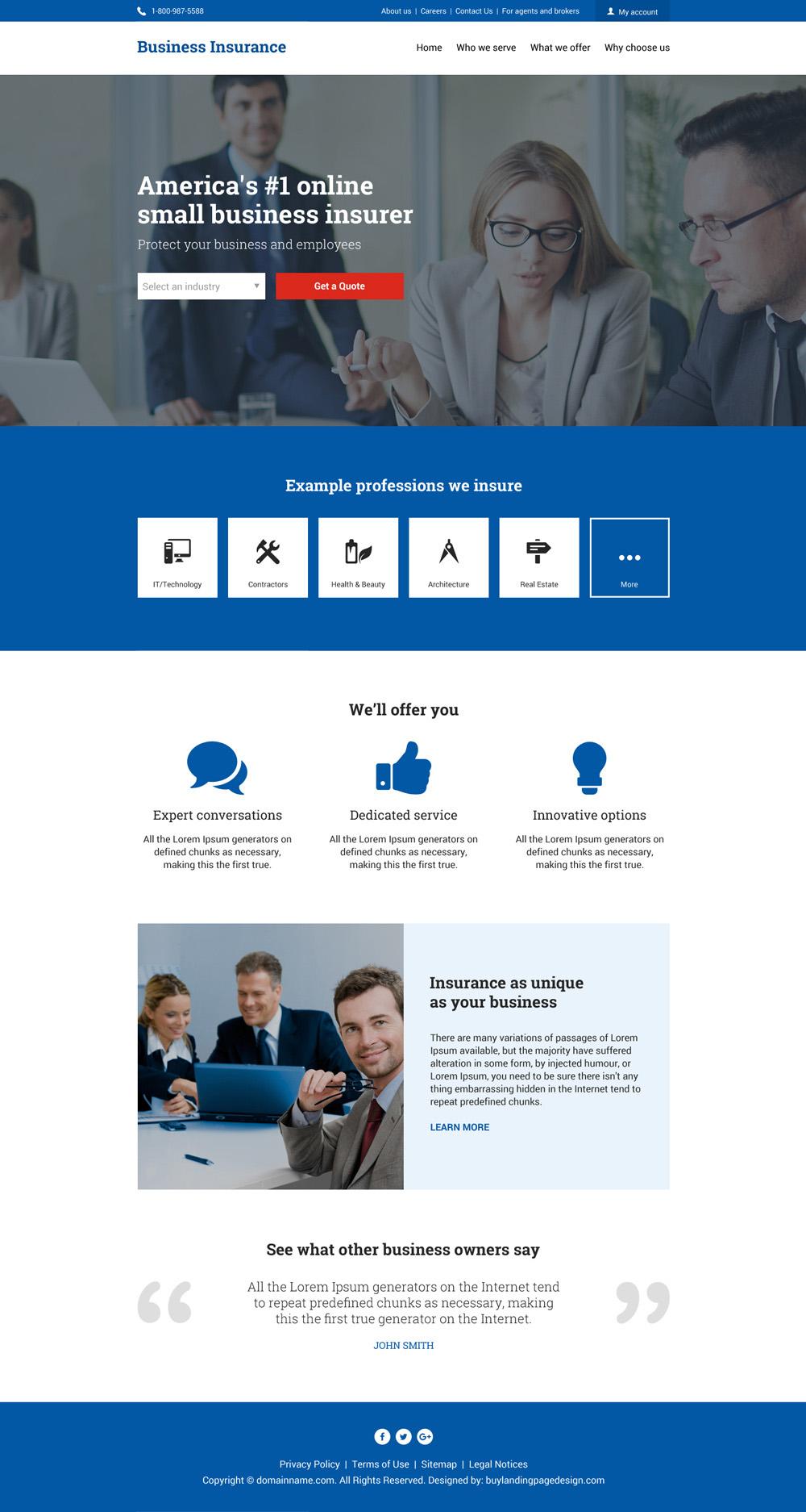 Business insurance responsive website design Be an