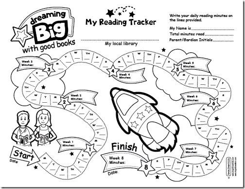 Reading tracker for young kids. Many more great ideas and