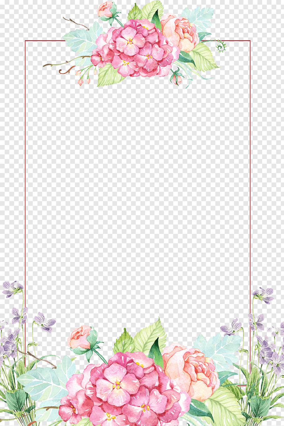 Flower Beautiful Flower Borders Pink And Yellow Floral Border Free Png Flower Border Png Flower Illustration Flower Border