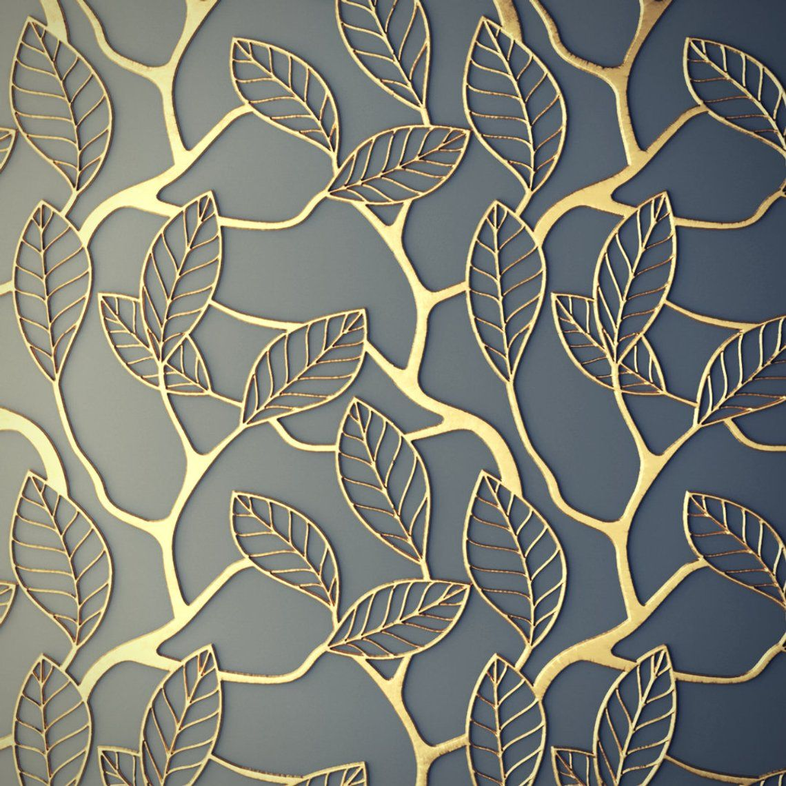 Printmyspace Vintage Gold And Grey Lattice Wallpaper Self