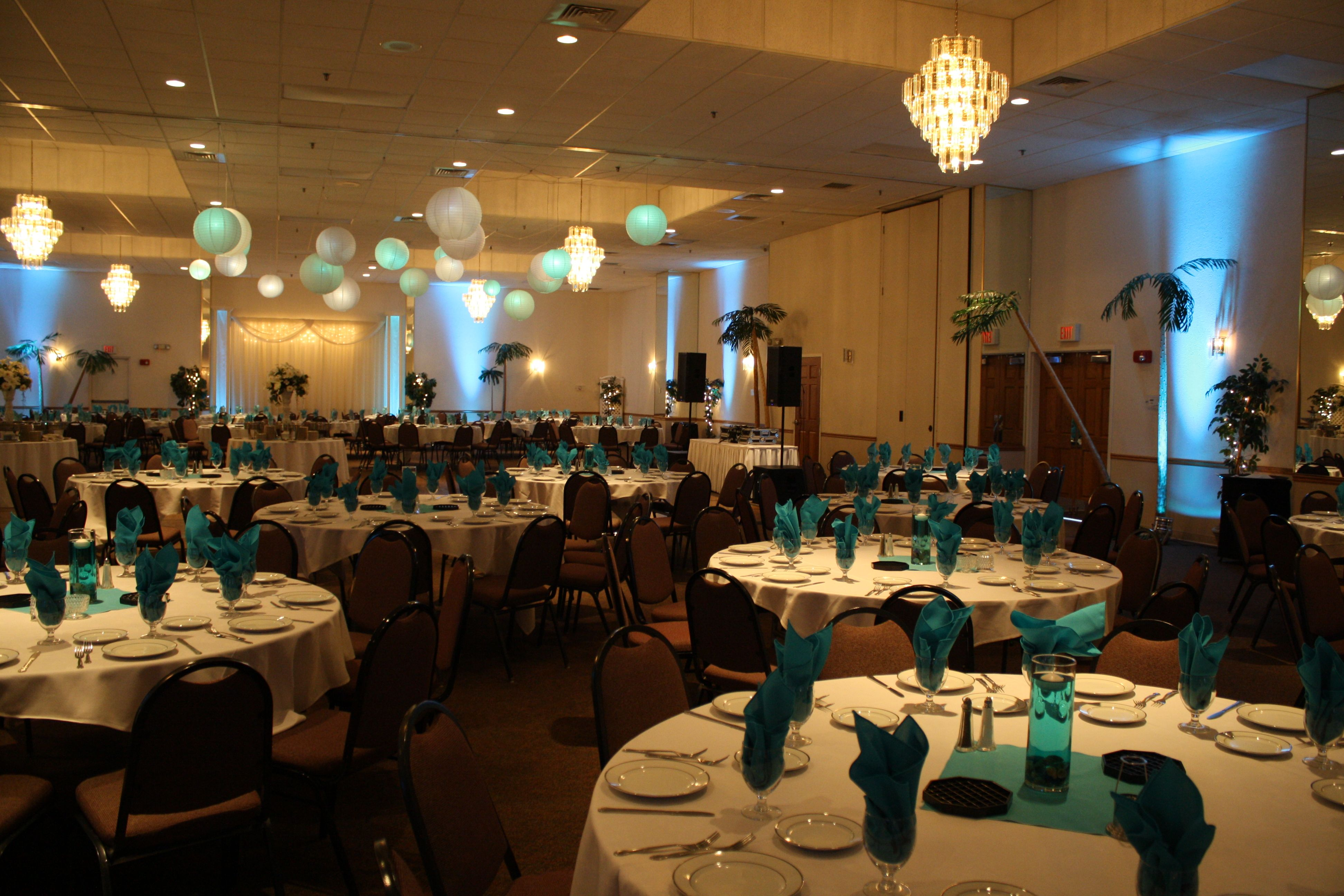 tropical elegance prom theme at maneeley's ballroom in south