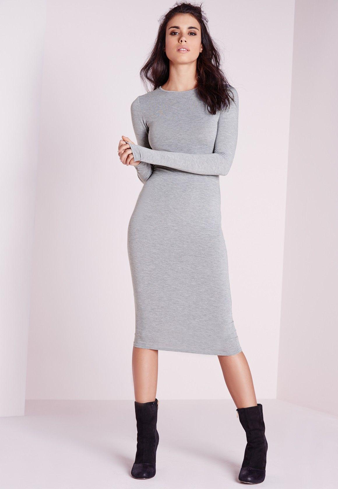 889997b1a093 Missguided - Jersey Bodycon Midi Dress Grey Marl