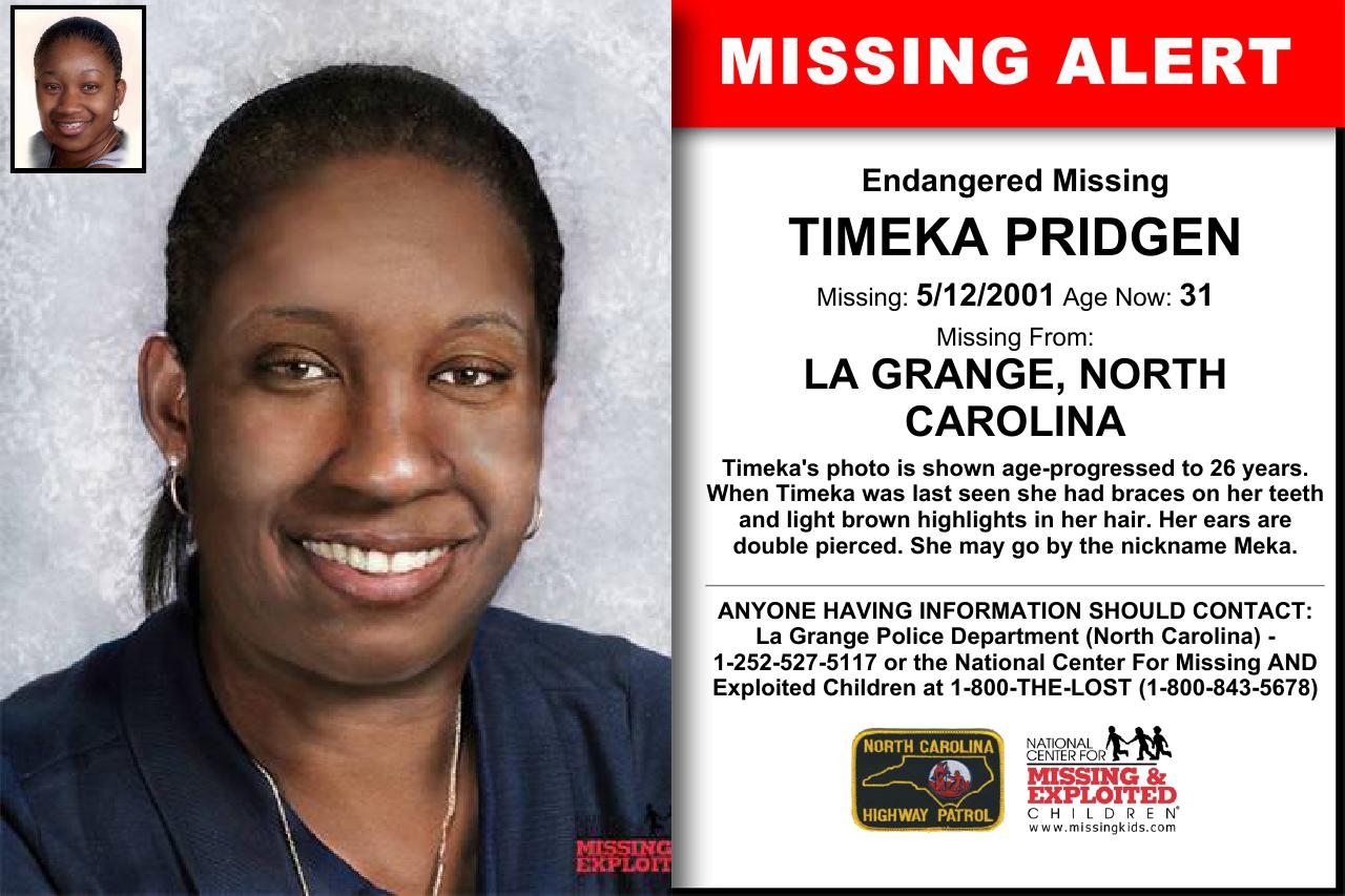 Timeka Pridgen Age Now 31 Missing 05 12 2001 Missing From La Grange Nc Anyone Having Information Shoul Light Brown Highlights Brown Highlights Word Find