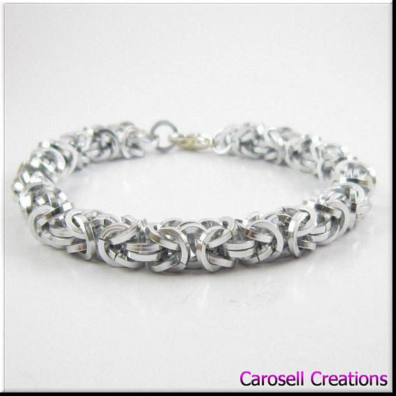 Chainmaille Bracelet Solid Silver Square Cut Byzantine Chain