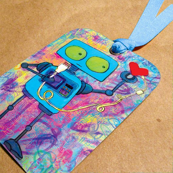 Robot and USB Heart Bookmark - upcycled cardboard #handmade #etsy #geek #valentine $3.50