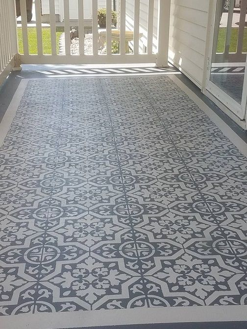 Diy Stencil Concrete Patio Rug