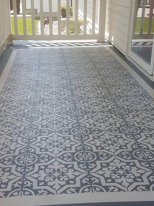 DIY Stencil Concrete Patio Rug   Crafty Morning  Lyndhurst Tile Stencil  From Cutting Edge Stencils