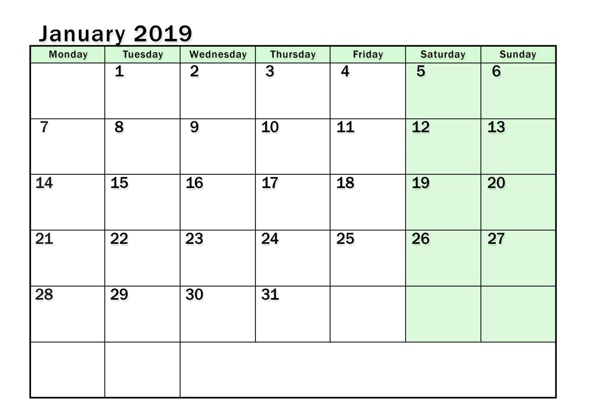 January Calendar Blank Printable