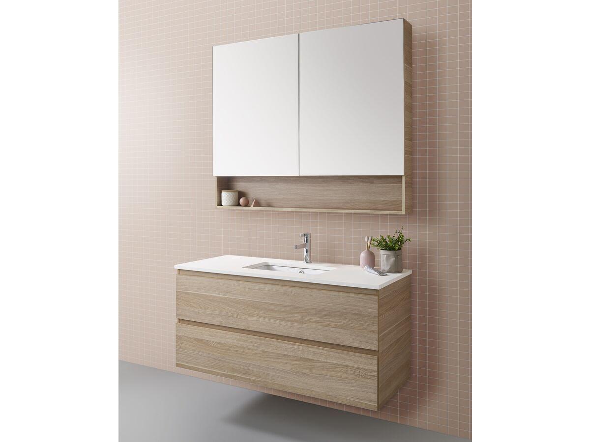 Posh Domaine Plus 900mm X 1000mm Shaving Cabinet Open Shelf 2 Door From Reece Shaving Cabinet Open Shelving Wall Hung Vanity