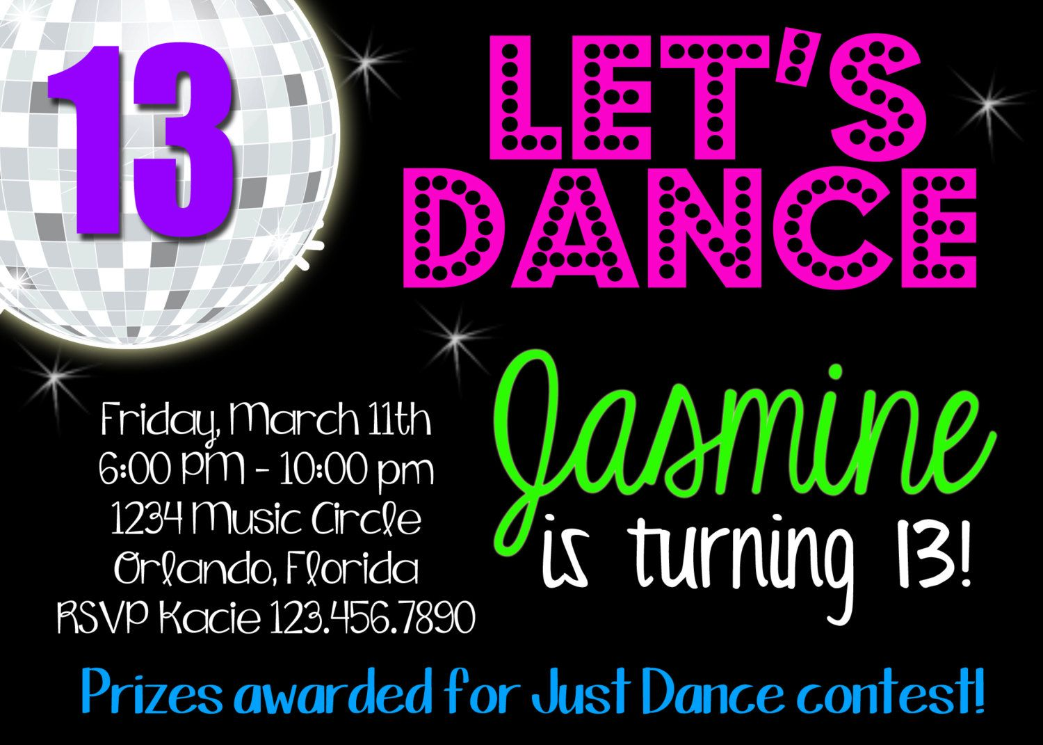 DANCE DISCO Birthday Party 5x7 Invitation Printable – Dance Party Invites