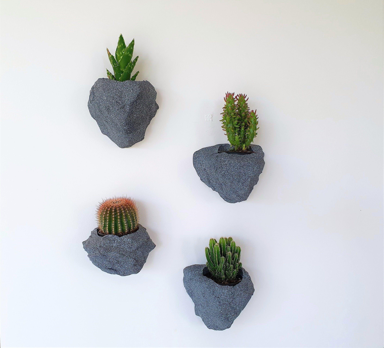 Set Of 4 Wall Planter Grey Granite Stone Rock Look Planter Etsy Wall Mounted Planters Wall Planter Flower Planters