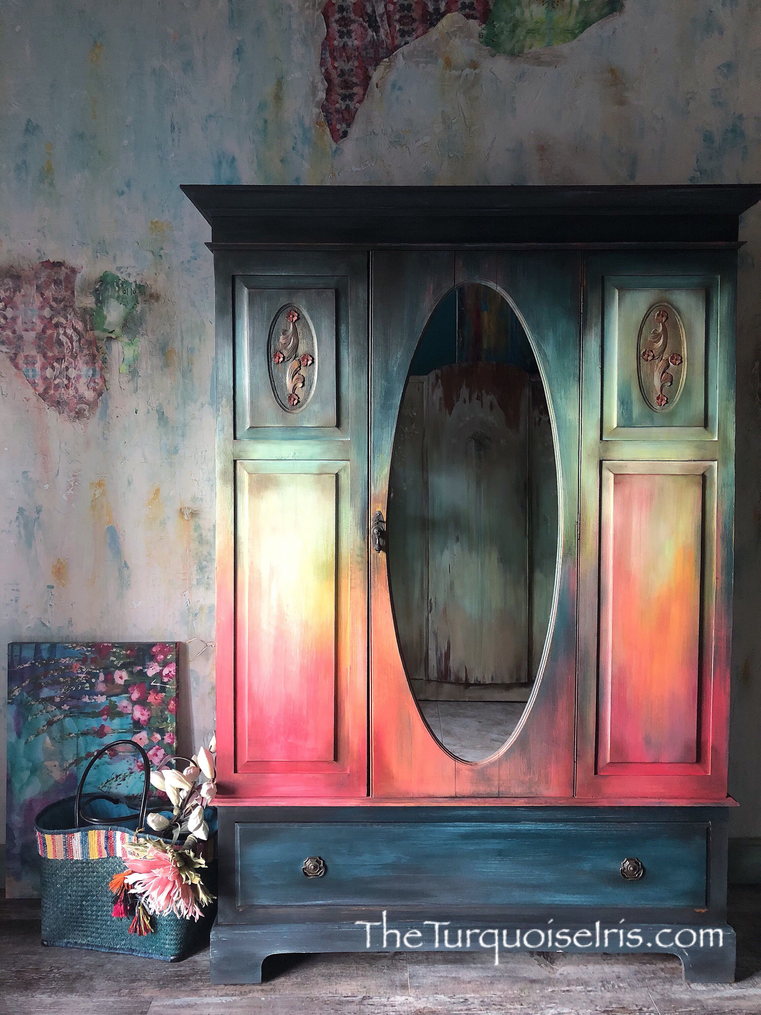 Dionne Woods #furniturepainter #furnitureartist #vintagefurniture #paintedfurniture #loveart #oklahomaartist #okcartist #oneofakind #theturquoiseiris #handpainted #claybasedpaint #etsyshop #etsyseller #createallday #creativeentreprenuer #dotheDionne #colormovement #DIYpaint #debisdesigndiary