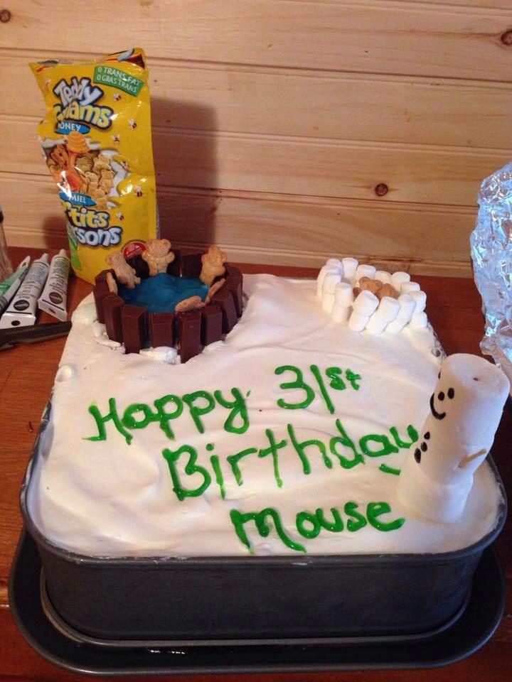 Winter Themed Hot Tub Birthday Cake My Cakes Cupcakes