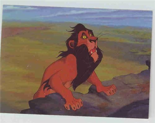 The Lion King Trading Card featuring a scared Uncle Scar