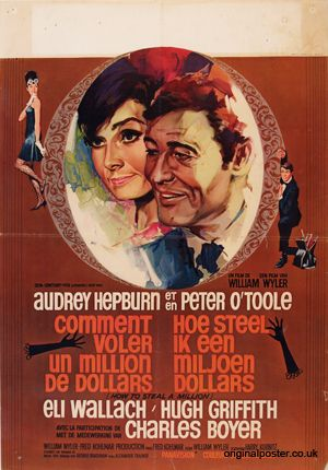 How To Steal A Million belgian poster. Audrey Hepburn. Peter O'Toole. Art by Ray (Raymond Elseviers)