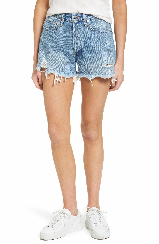 b80413537d000 Main Image - AGOLDE Parker Distressed Denim Shorts (Swapmeet ...