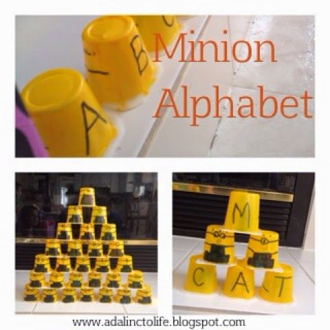 New post: Our Minion Alphabet, Sight Words and Spelling made by reusing pudding cups.  #sightwordgames #spelling