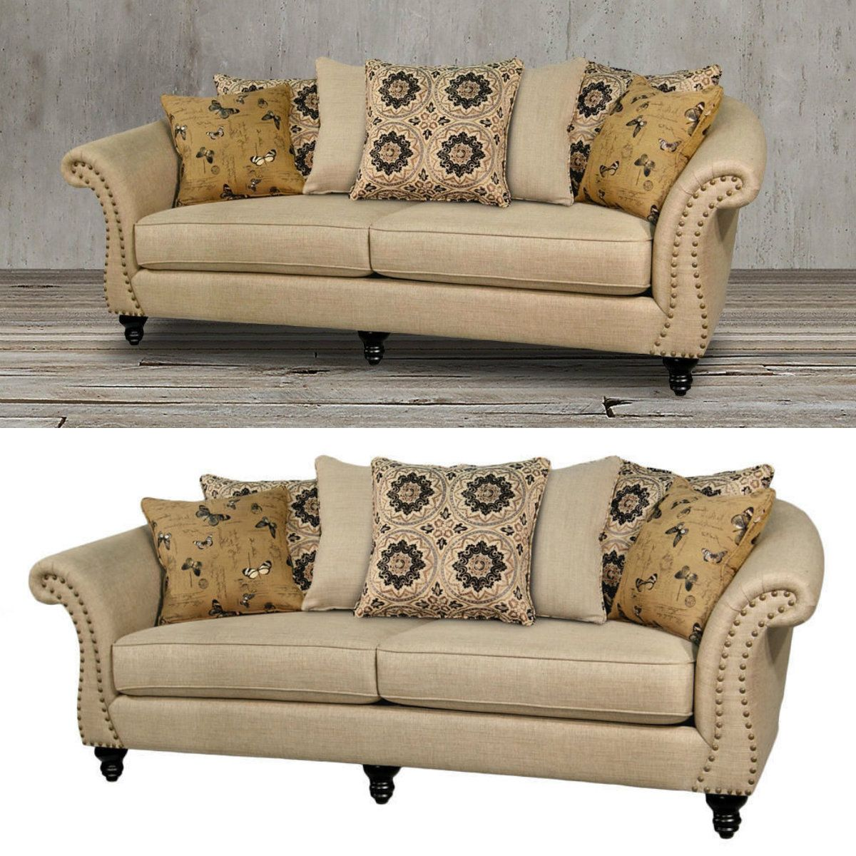 This Striking Beige Sofa Couch Features Contoured Flair Arms Nail