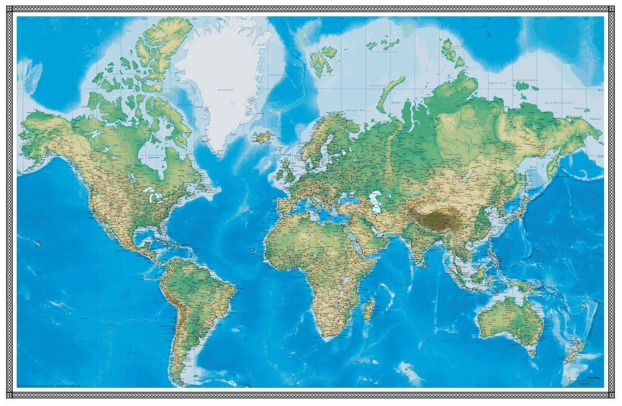 amazon com 96x144 world geophysical wall map mural on laminated wall maps id=17668