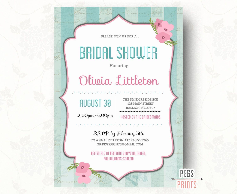 Shabby Chic Bridal Shower Invitation Printable - Floral Bridal ...