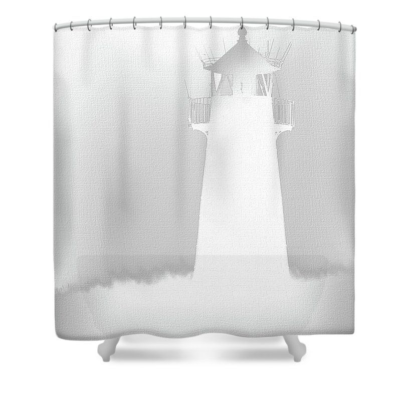 White Lighthouse Silhouette Shower Curtain Featuring The Digital