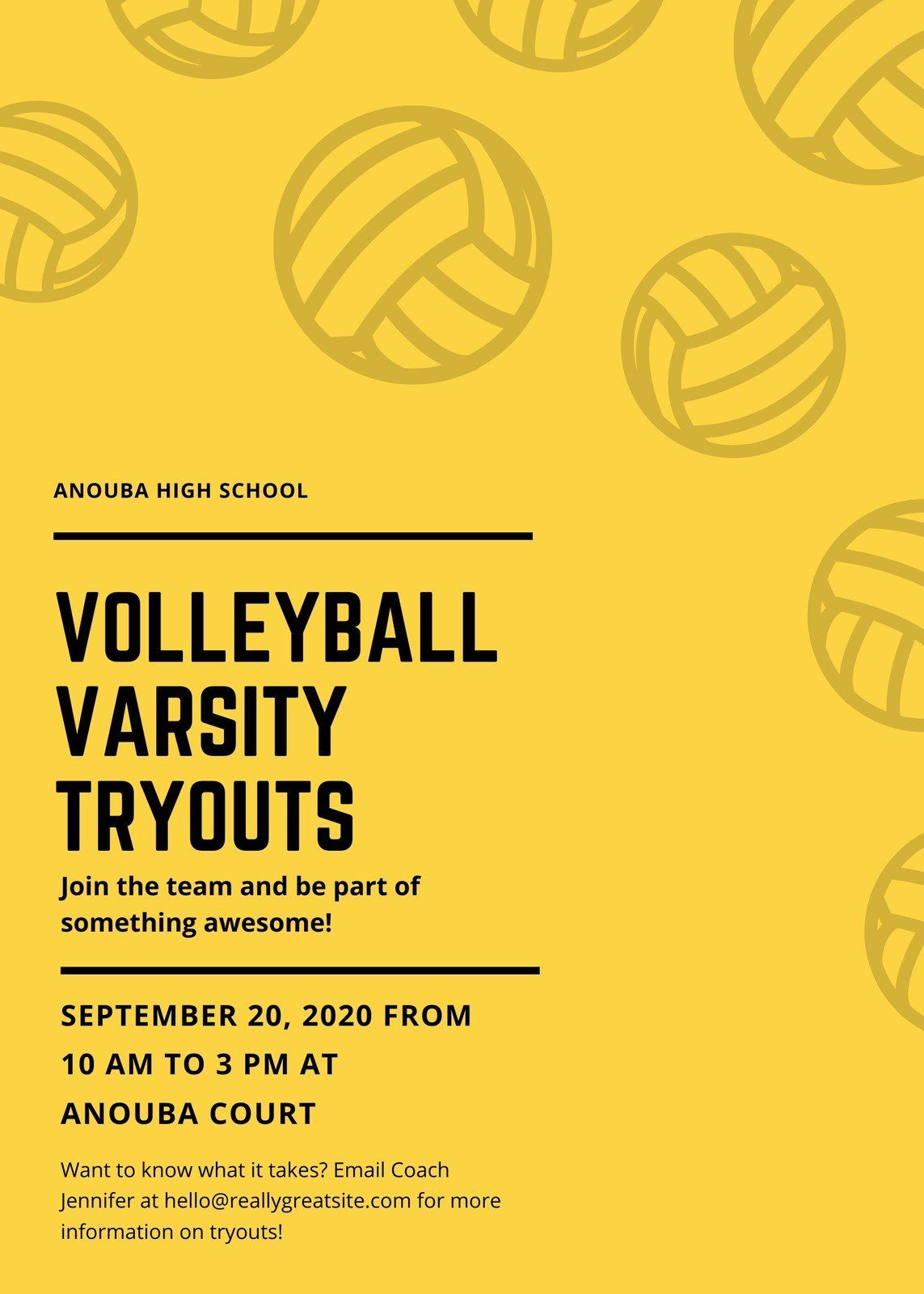 Black And Yellow Volleyball Icons Sports Flyer Templates By Canva Ad Volleyball Paid Icons Black Yellow In 2020 Sports Flyer Volleyball Flyer Template