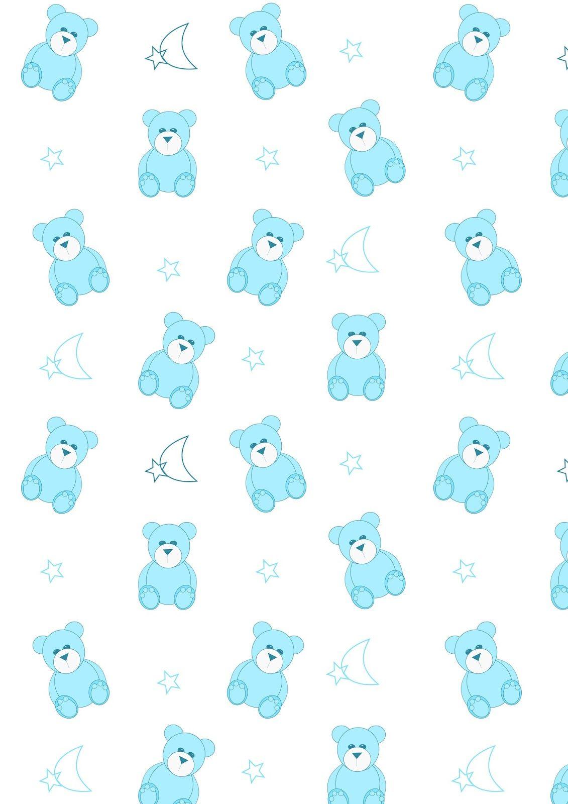 Free Printable Nursery Pattern Paper Babyblue Teddybear