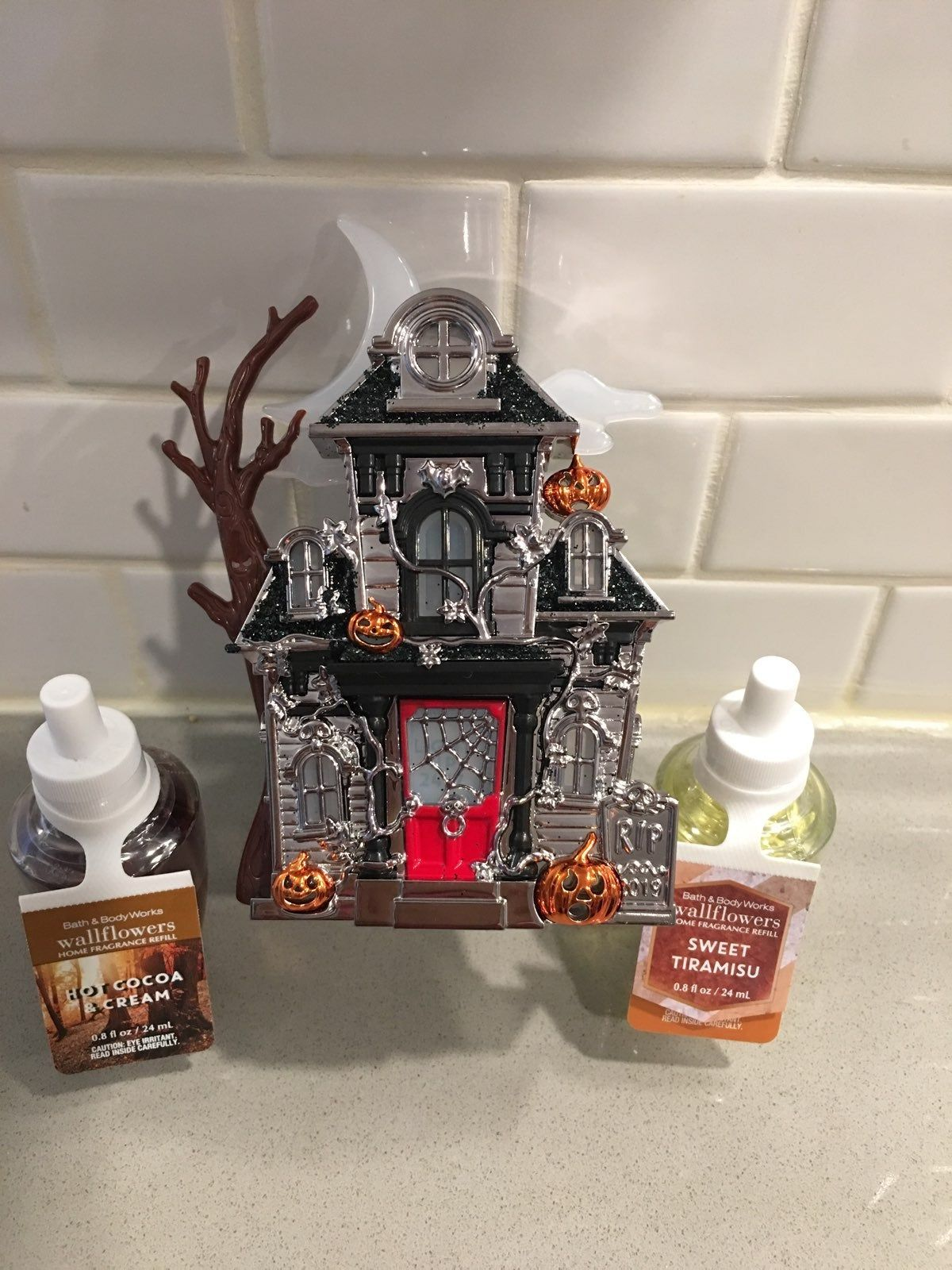 Bath And Body Works Haunted House Wallflower Nightlight With Refills See Photos Of It Lit Up Halloween Candles Holders Bath And Body Works Candle Collection