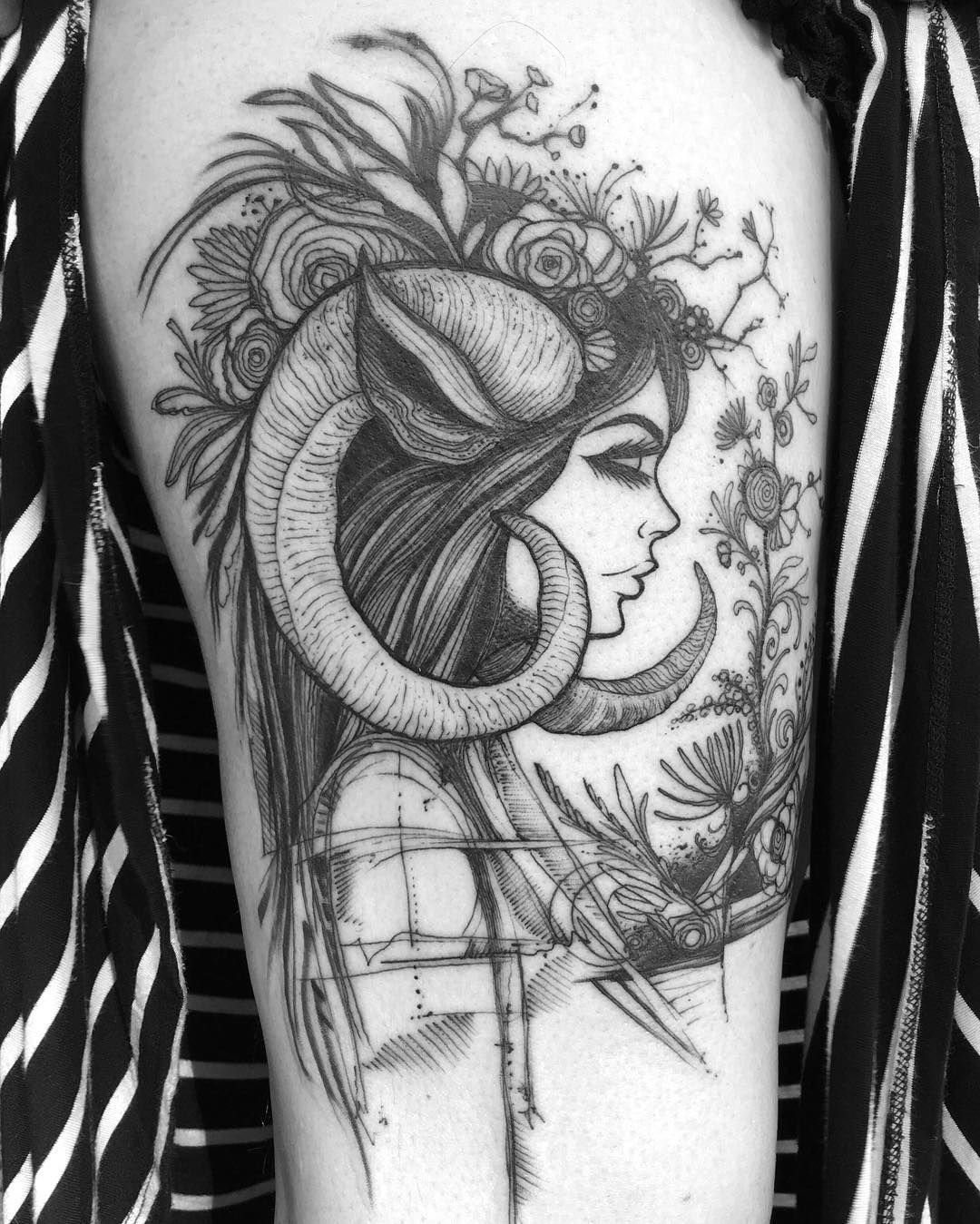 aries tattoo idea art by dinonemec Aries tattoo