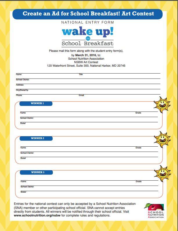 National School Breakfast Art Contest  School Entry Form  School